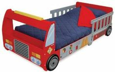 """Kid Kraft Fire Truck Toddler Cot 76021 by KidKraft. $199.56. Made of wood. Silk-screened details. Convenient storage compartment. Dimensions: 59"""" x 28"""" x 20"""" H. Ladder cut-outs on sides that double as bed rail. KidKraft Firefighter Bedroom Cot. Toddler - sized furnishings for your little hero! Every little kid dreams about being a hero... what better place to do the dreaming than a room decked out with super-cool Firefighter-themed furniture! Fire Truck Toddler Bed: Fits all sta..."""