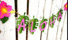 ALOHA Luau Party Banner Pink hibiscus Ready by PurpleZebraPaperCo