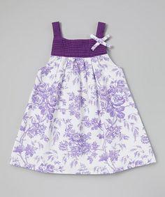 Look at this #zulilyfind! Purple Floral Pin Tuck Dress - Infant, Toddler & Girls by Rim Zim Kids #zulilyfinds