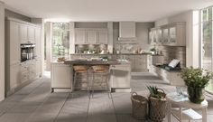 Chalet from Nobilia. In honed sand or ivory, an elegant kitchen which will suit contemporary or traditional homes. Nobilia Kitchen, Shaker Kitchen, Kitchen Living, Kitchen Island, Kitchen Appliances, Attic Playroom, Attic Loft, Attic Rooms, Attic Library