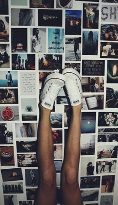"This image also reflects of the lyrics ""I want it all"" as there are many different pictures/memories placed on a wall with a girls legs set over the top of them."