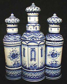 """Gzhel   ...   Dining - Bottle Cases (Holders) - """"Suzdal"""" Gzhel Bottle Holder Set. """"Repinned by Keva xo""""."""
