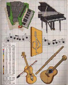 GRAFICOS PUNTO DE CRUZ GRATIS : INSTRUMENTOS MUSICALES(20)