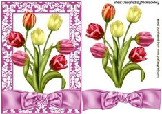 PRETTY SHADES OF TULIPS IN FLORAL FRAME on Craftsuprint - Add To Basket!