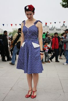 Lucille Dress, at the Royal Jubilee! Looking absolutely patriotic with blue polka dots + red accessories!