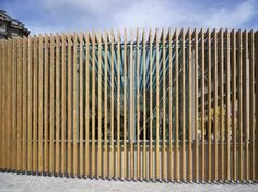 Paris-based Explorations Architecture have sent us these images of a temporary entrance-pavilion they have designed for the Chateau de Versailles in France. The 350 square metre structure provides crowd regulation, a visitors' centre, security checks and cloakroom. Building was completed this summer; the pavilion will remain in place until 2011. Photographs by Michel Denancé. The