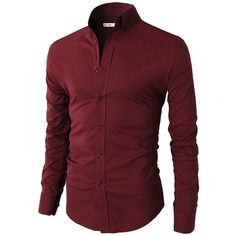 H2H Mens Casual Slim Fit Basic Designed Button Down Shirts Wine US... (100 BRL) ❤ liked on Polyvore featuring men's fashion, men's clothing, men's shirts, men's casual shirts, mens casual button down shirts, mens slim fit shirts, mens button up shirts, mens slim shirts and mens casual dress shirts