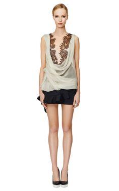 Two-Tone Cowl Neck Wrap Blouse by Alberta Ferretti Now Available on Moda Operandi