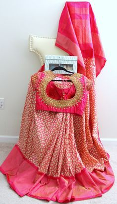 Light pink and Beige Pochampally Pattu Saree by Brioka on Etsy