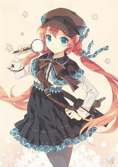 Anime girl detective brown hat dress blue eyes pink hair twintails pigtails (love it) Anime Chibi, Manga Anime, I Love Anime, Awesome Anime, Manga Girl, Anime Style, Anime People, Cute Chibi, Manga Characters