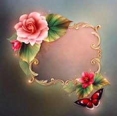 Always in my heart Art Floral, Flower Frame, Flower Art, Tole Painting Patterns, Frame Background, Paper Background, Birthday Frames, Borders And Frames, Paper Frames