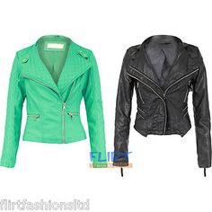 Womens Bomber Jacket Ladies PVC Faux Leather Zip Up Top Fitted Biker Coats 8-14