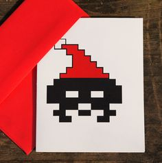 8 Bit Santa Invaderz christmas card retro by blackbirdandpeacock, $3.50