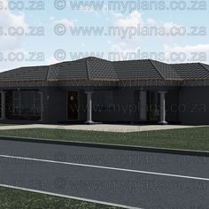 This Tuscan designed Single Storey 3 Bedroom House Plan Boasting Full Master Suite Including Walk-In Closet, 2 Standard Bedrooms, Bathroom, Open Plan living area Including Kitchen with Scullery, Double Garage and Covered Patio My Building, Building Plans, My House Plans, Bedroom House Plans, South Africa, Floor Plans, How To Plan, Outdoor Decor, Home