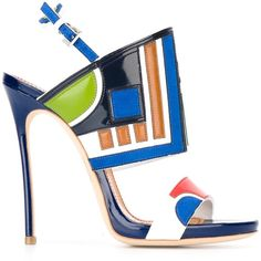 Dsquared2 paneled sandals ($1,115) ❤ liked on Polyvore featuring shoes, sandals, multicolour, patent leather sandals, ankle strap stilettos, high heels stilettos, ankle strap shoes and patent sandals
