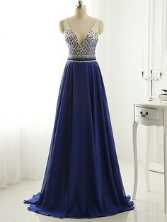 A-line V-neck Chiffon Sweep Train Beading Royal Blue Open Back Fashion Prom Dresses