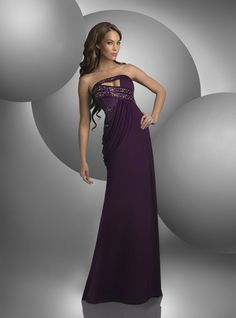 Gown by Shimmer - Strapless, shirred bodice with beaded bands, Grecian drape.