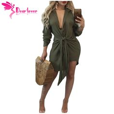 Dear Lover Autumn Dress Fashion Women Long Sleeve Army Green Knot Tie  Accent Button Down Shirtdress Vestidos Mujer Robe LC220206