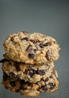 Breakfast Cookies -no sugar, no butter, no eggs, no flour (just rolled oats, coconut, spices, almond meal, mixed nuts, dried fruit, mashed bananas, oil and vanilla) Cookies for Breakfast? Perfect :)