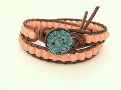 Boho Leather wrap bracelet  Peach Baby  Bohemian by 3DivasStudio, $49.00