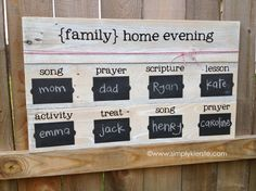 Family Home Evening Board using fold fence posts and chalkboard labels!  SO easy!!!  {simplykierste.com}