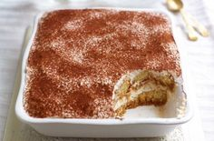 Gino has substituted the whipped double cream and mascarpone cheese used in traditional tiramisu recipes with lower-fat ricotta cheese and Greek yogurt No Cook Desserts, Italian Desserts, Just Desserts, Italian Recipes, Delicious Desserts, Dessert Recipes, Yummy Food, Italian Tiramisu, Trifle Desserts