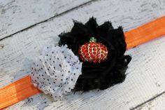 Halloween headband pumpkin headband black by AshlynsAccessoryCo