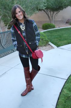 Plaid Shirt, Quilted Vest, Black Leggings, Brown Over the Knee Boots, Red Crossbody, J.Crew Factory, Frye, Chloe 15