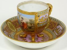 Antique Royal Vienna Austrian Porcelain Cup & Saucer
