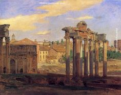 Constantin Hansen The Arch of Septumius Severus and the Temple of Concord, painting Authorized official website