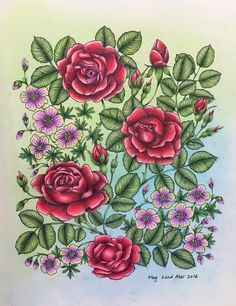 Velvet Red Roses From Blomstermandala By Maria Trolle Coloured Meg Coloring TipsColoring BooksAdult ColoringFlower