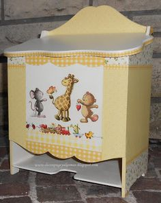 Decoupage, and more .: Pañalera II with decoupage Wood Crafts, Diy And Crafts, Paper Crafts, Kids Furniture, Painted Furniture, Kit Bebe, Baby Box, Baby Images, Decoupage Paper