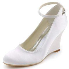 429ca703690af Blanco marfil mujer cuñas zapatos de boda de tacón alto