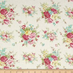 Tanya Whelan, Rosey, Little Bouquet, Ivory. Shabby Chic, Floral. Fabric by the Yard
