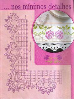 "Photo from album ""Punto Cruz"" on Yandex. Crochet Border Patterns, Crochet Boarders, Crochet Lace Edging, Crochet Diagram, Doily Patterns, Crochet Chart, Crochet Trim, Filet Crochet, Crochet Wool"