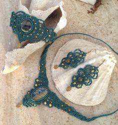 Labradorite macrame set. Necklace bracelet and earring Tribal gypsy macrame set…
