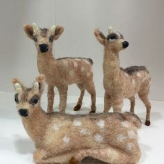Needle felted fawns