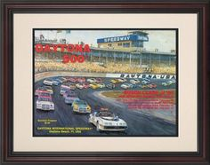 """NASCAR Framed 8.5"""" x 11"""" Daytona 500 Program Print Race Year: 23rd Annual - 1981 by Mounted Memories. $63.99. NC01231981 Race Year: 23rd Annual - 1981 Features: -Original cover art from that day's race program. -Vibrant colors restored, alive and well. -Classic brown finished wood frame with double matte. -Officially licensed by NASCAR. -8.5"""" W x 11"""" H; paper print. -Overall dimensions 17 1/2"""" H x 15"""" W. -Made in the USA."""
