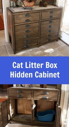 Ana White | Printer's Console or Sneaky Litterbox Cabinet? Cat Litter Box Cabinet - DIY Projects