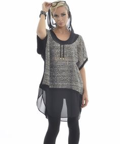 Take a look at this Gray & Black Sheer Hooded Tunic on zulily today!