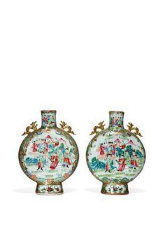 Par de vasos em porcelana Chinesa de Cantao do sec.19th, 25,5cm de altura, 7,230 USD / 6,340 EUROS / 25,030 REAIS / 46,990 CHINESE YUAN soulcariocantiques.tictail.com