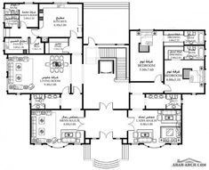 خرائط الفيلا 7 غرف  1,016 متر مربع  طابقين  - سكن