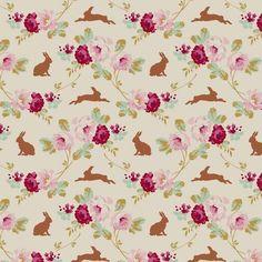 Tilda Cabbage Rose Fat Quarter Rabbit and Roses Linen
