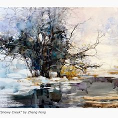 """@z.l.feng's Instagram profile post: """"Snowy Creek is accepted at National Watercolor Society 2021 member online Exhibition and was featured in the American Watercolor Weekly and…"""""""