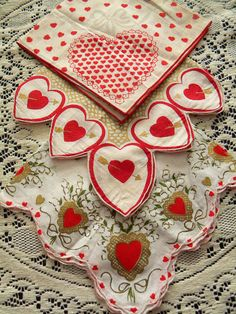 3 Vintage Valentines Hankies Hearts Bow and by SongbirdSalvation