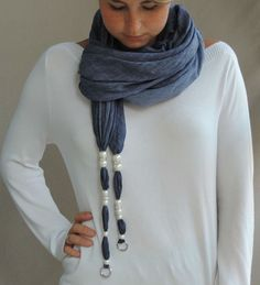 Elegant blue-jeans colored jewelry scarf worn as a long girly tie. Isn't it lovely? Shop it on Etsy.com!