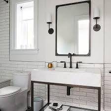 Black And White Modern Farmhouse Bathroom 57 - myhomeorganic Bad Inspiration, Bathroom Inspiration, Modern Farmhouse Bathroom, Beautiful Bathrooms, Double Vanity, Sconces, Sink, Black And White, Mirror