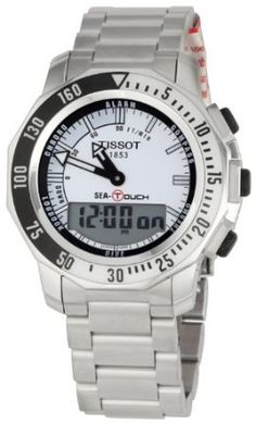Tissot Mens T0264201103101 Sea-Touch Chronograph Watch Stainless Steel Bracelet, Stainless Steel Case, Tissot T Touch, Luxury Watches For Men, Sport Watches, Casio Watch, Chronograph, Sea, Stuff To Buy