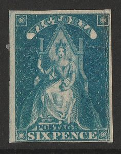 AUSTRALIA - VICTORIA - 1858 Queen on Throne 6d bright blue, variety 'roulette greatly shifted' (into stamp at right, imperf… / MAD on Collections - Browse and find over 10,000 categories of collectables from around the world - antiques, stamps, coins, memorabilia, art, bottles, jewellery, furniture, medals, toys and more at madoncollections.com. Free to view - Free to Register - Visit today. #Stamps #MADonCollections #MADonC Old Stamps, Queen Victoria, Stamp Collecting, Postage Stamps, Ephemera, Nostalgia, Coins, Auction, Money