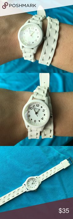 White Guess wrap around watch Perfect condition, worn a handful of times. Just needs a new battery Guess Accessories Watches